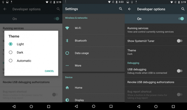 Android M Dark and Light Themes